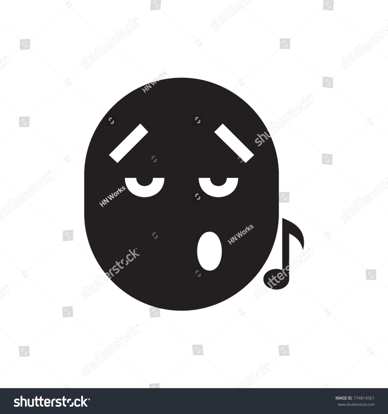 Emoji Listening Music Icon Illustration Isolated Stock Vector Hd
