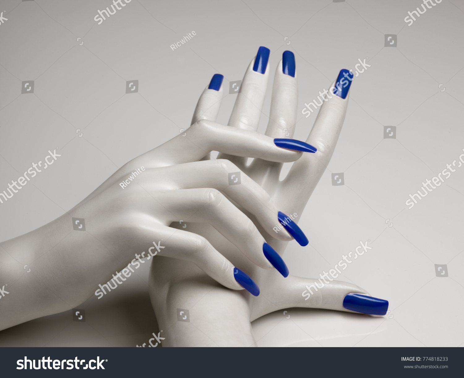 Mannequin Hands Perfect Manicure Blue Nail Stock Photo 774818233 ...