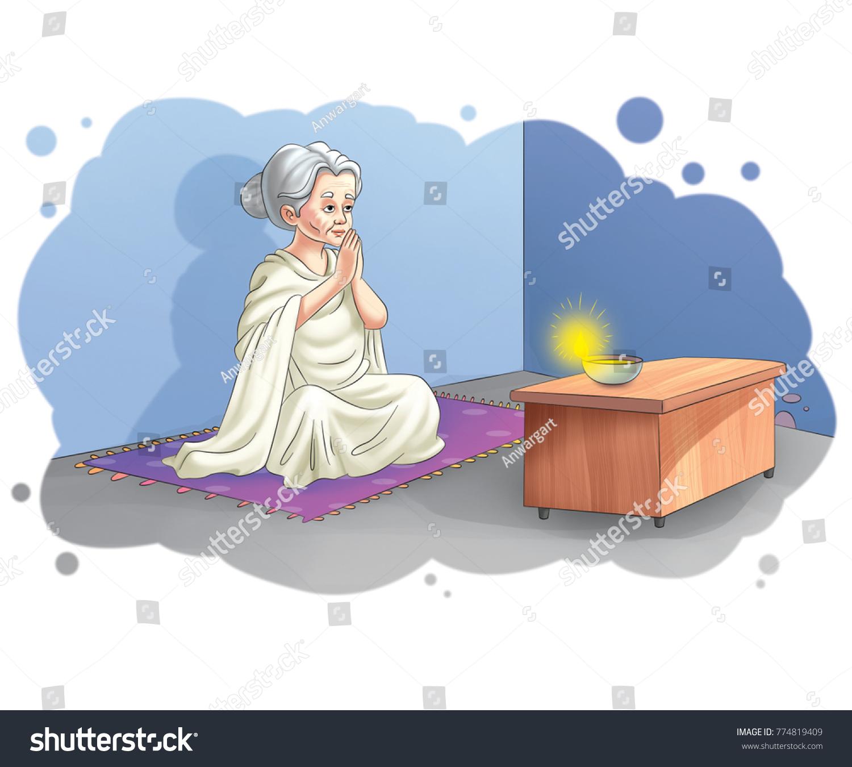 Illustration Old Woman Sitting Praying Stock Illustration 774819409