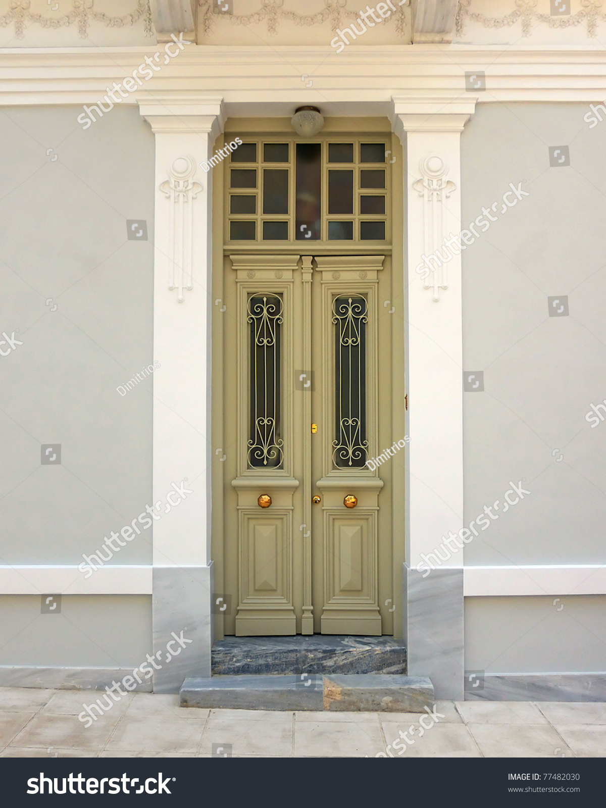 neoclassical house door athens greece stock photo 77482030