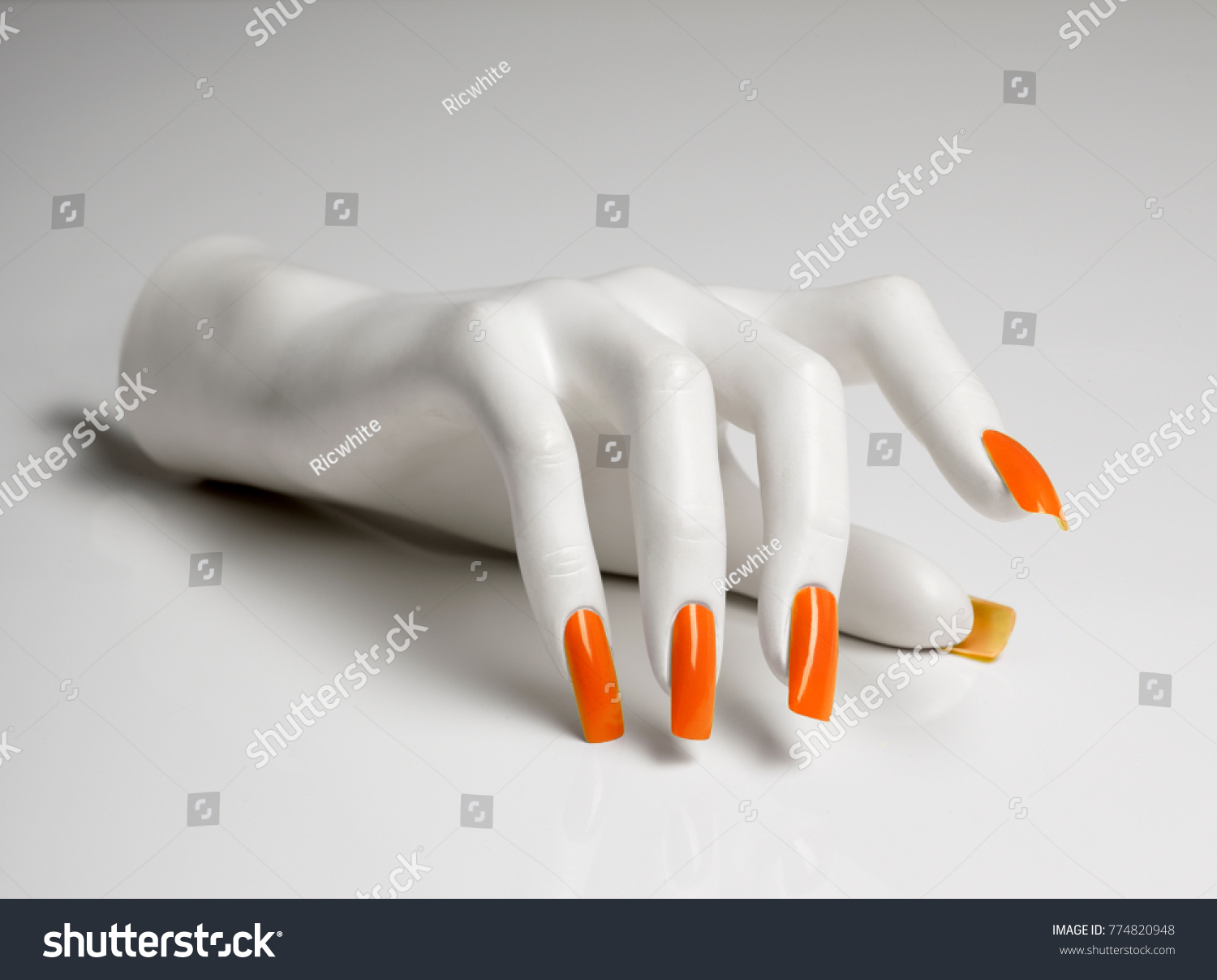 Mannequin Hand Perfect Manicure Orange Nail Stock Photo (Download ...