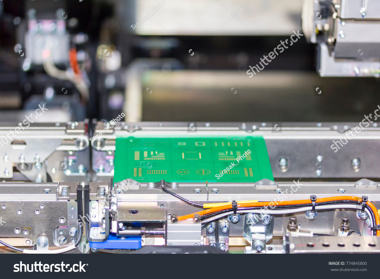 Close Print Circuit Board Pcb On Stock Photo Edit Now 774845800 Completely Assembled Printed Up Conveyor Of Led Smt Automatic Pick
