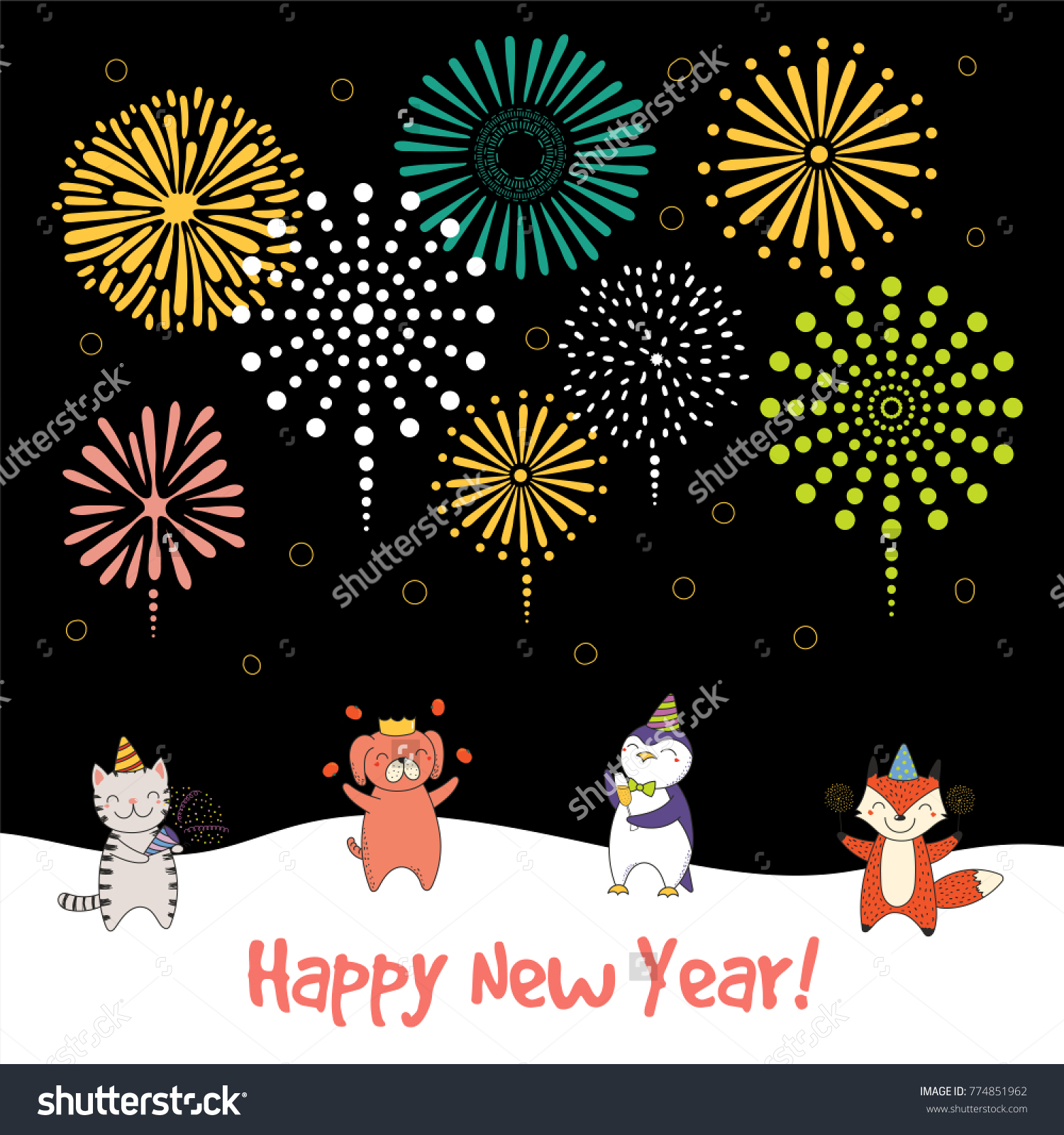 Hand drawn happy new year 2018 stock vector 774851962 shutterstock hand drawn happy new year 2018 greeting card banner template with cute funny cartoon animals m4hsunfo