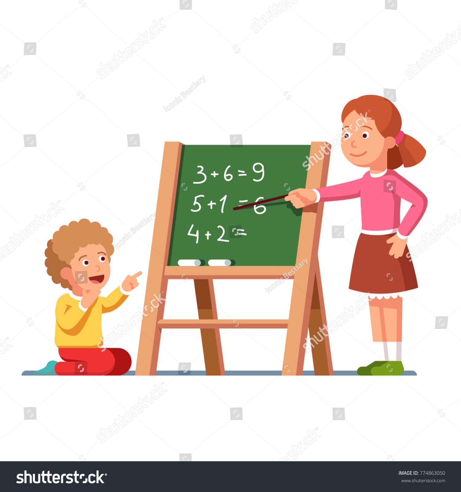 Kids Studying Math Girl Pointing Math Stock Photo (Photo, Vector ...