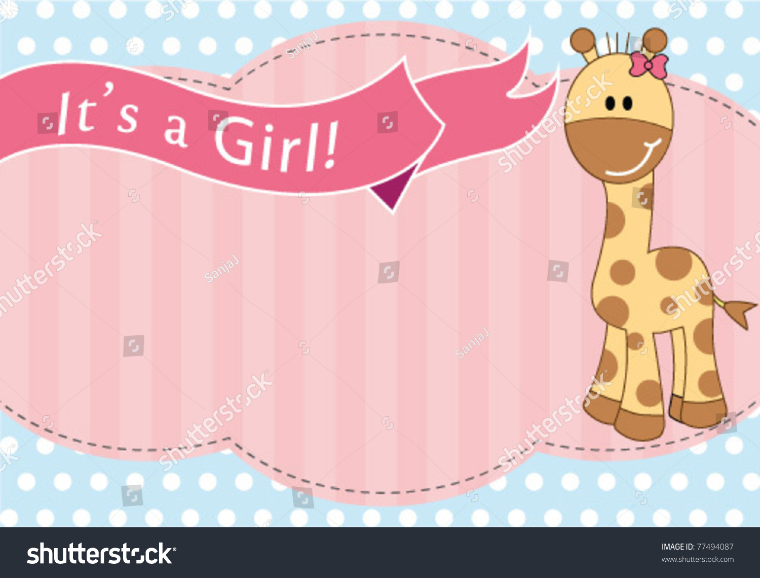 New Baby Girl Arrival Card Stock Vector 77494087