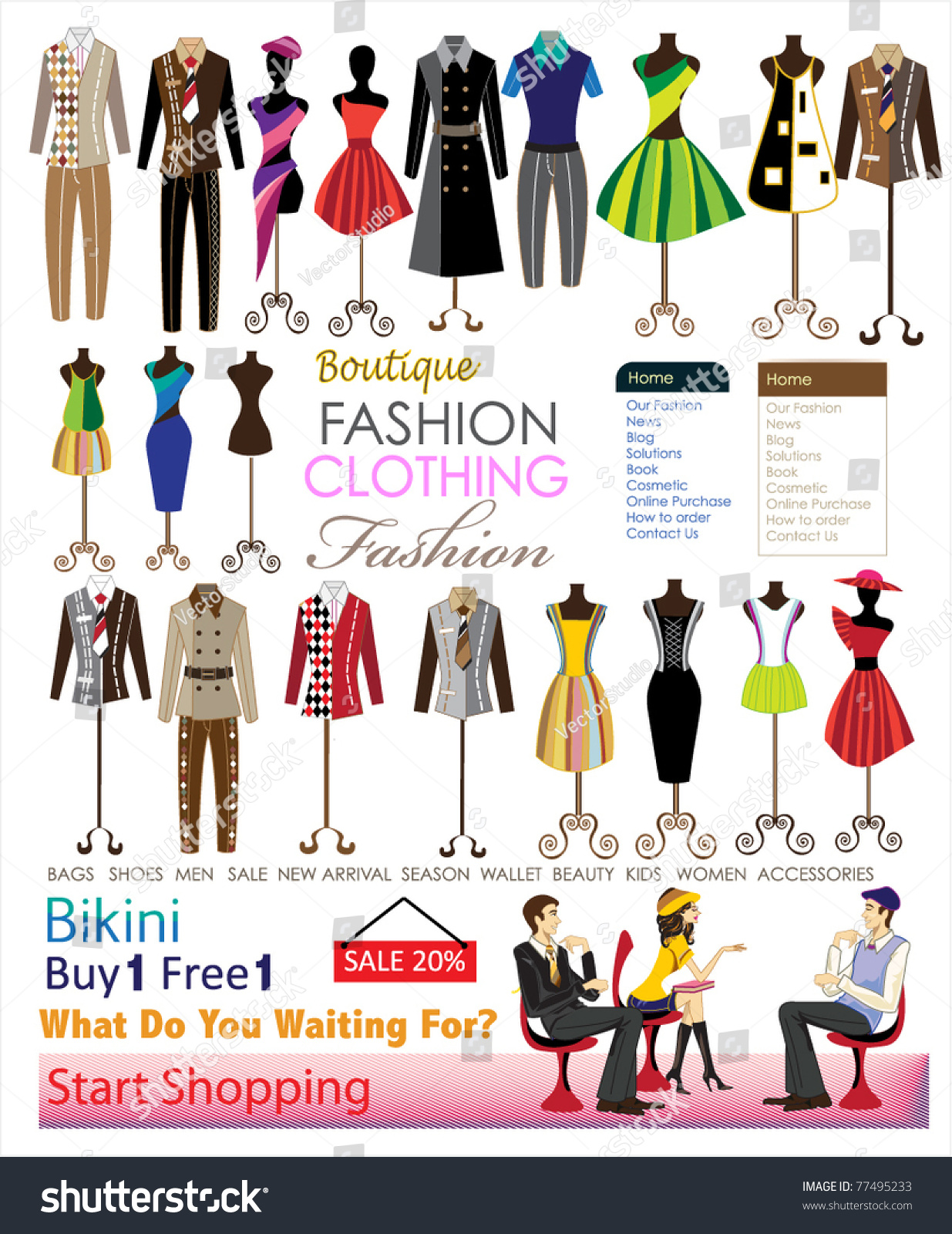 Collection Designer Fashion Clothing Hanging On Stock Vector   How To Do Fashion  Designing At Home Part 77