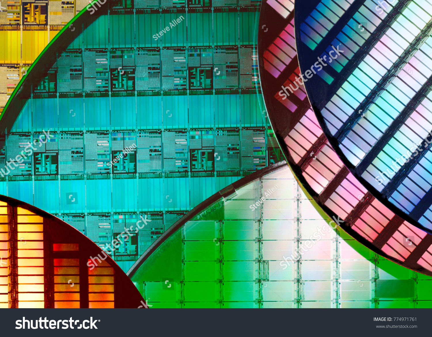 Silicon Wafers and Microcircuits - A wafer is a thin slice of semiconductor material, such as a crystalline silicon, used in electronics for the fabrication of integrated circuits.  #774971761