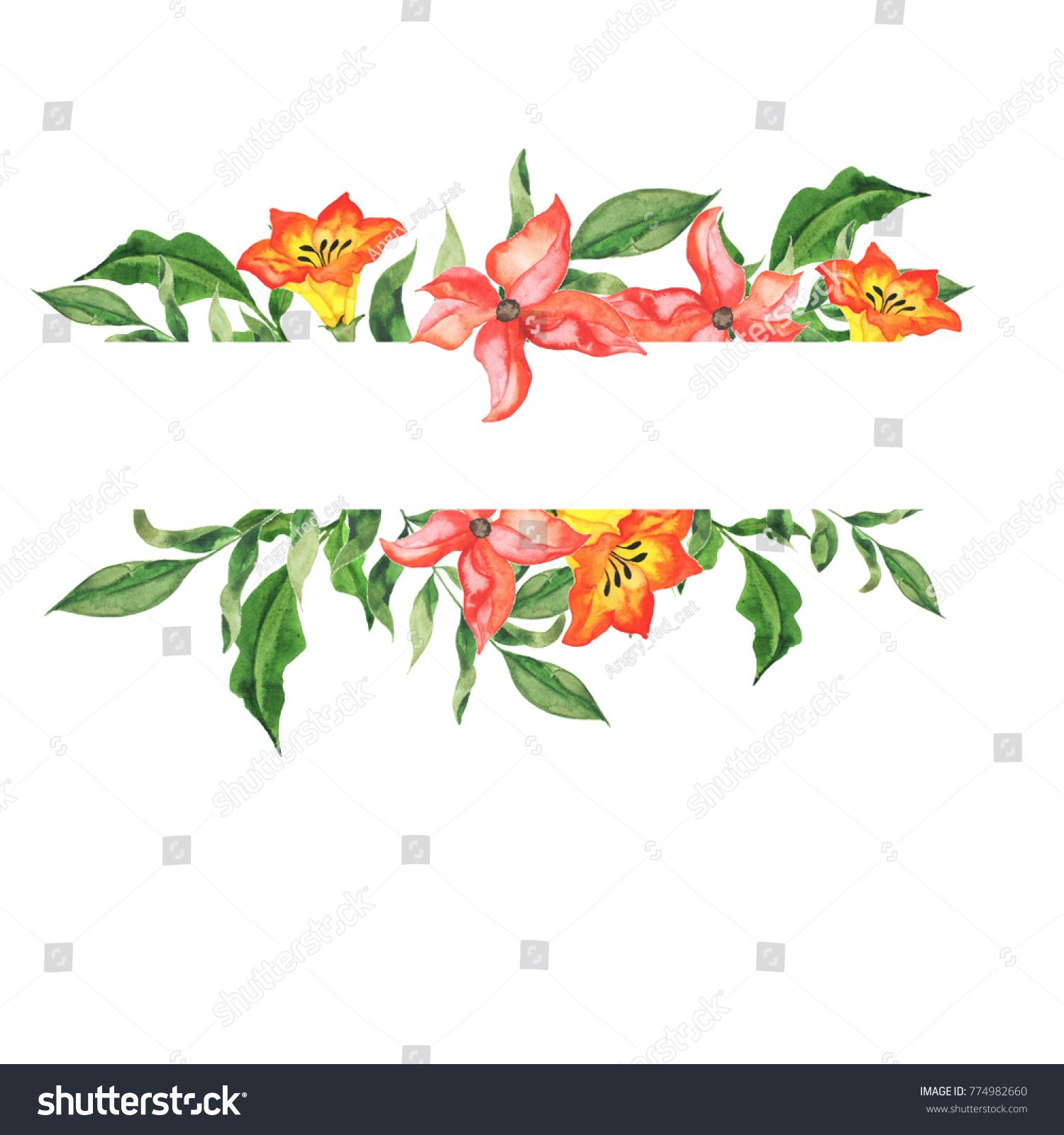 Yellow Red Flowers Green Leaves Border Stock Illustration 774982660