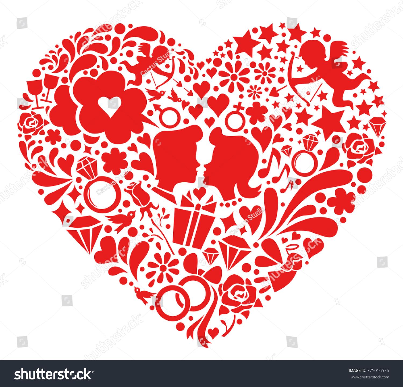 Valentines Day Symbols Into Heart Shaped Stock Vector Royalty Free
