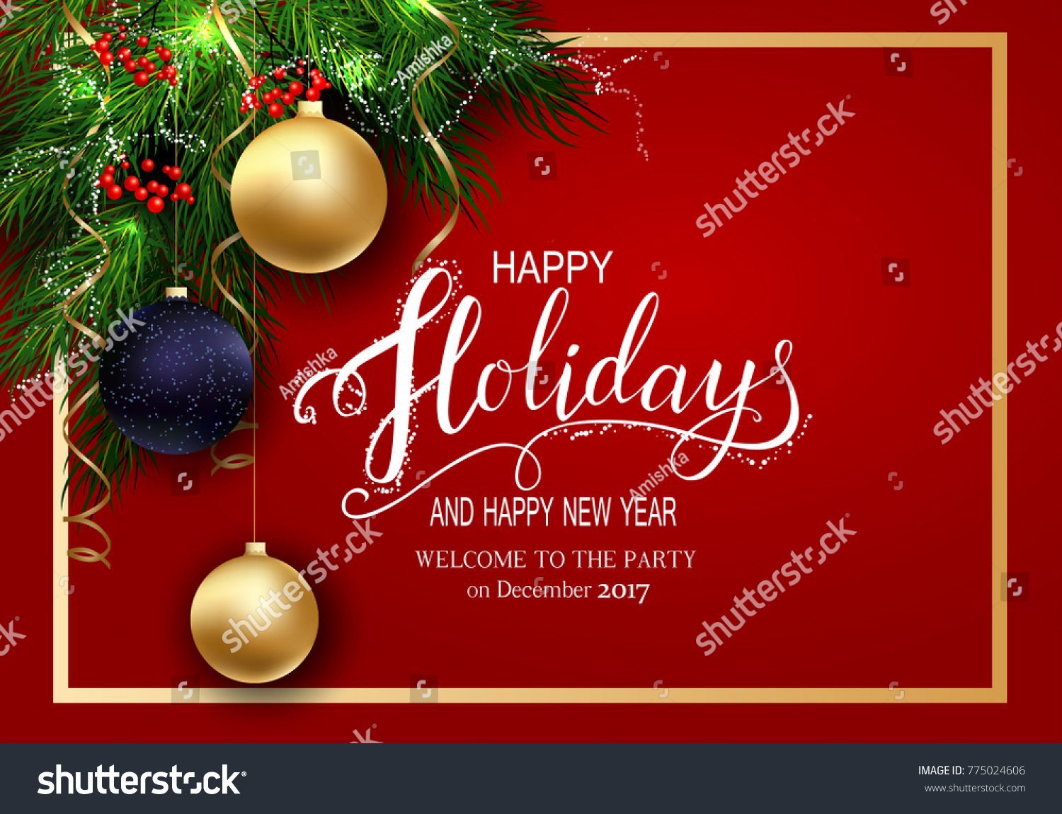 Holidays Greeting Card Winter Happy Holidays Stock Vector 775024606