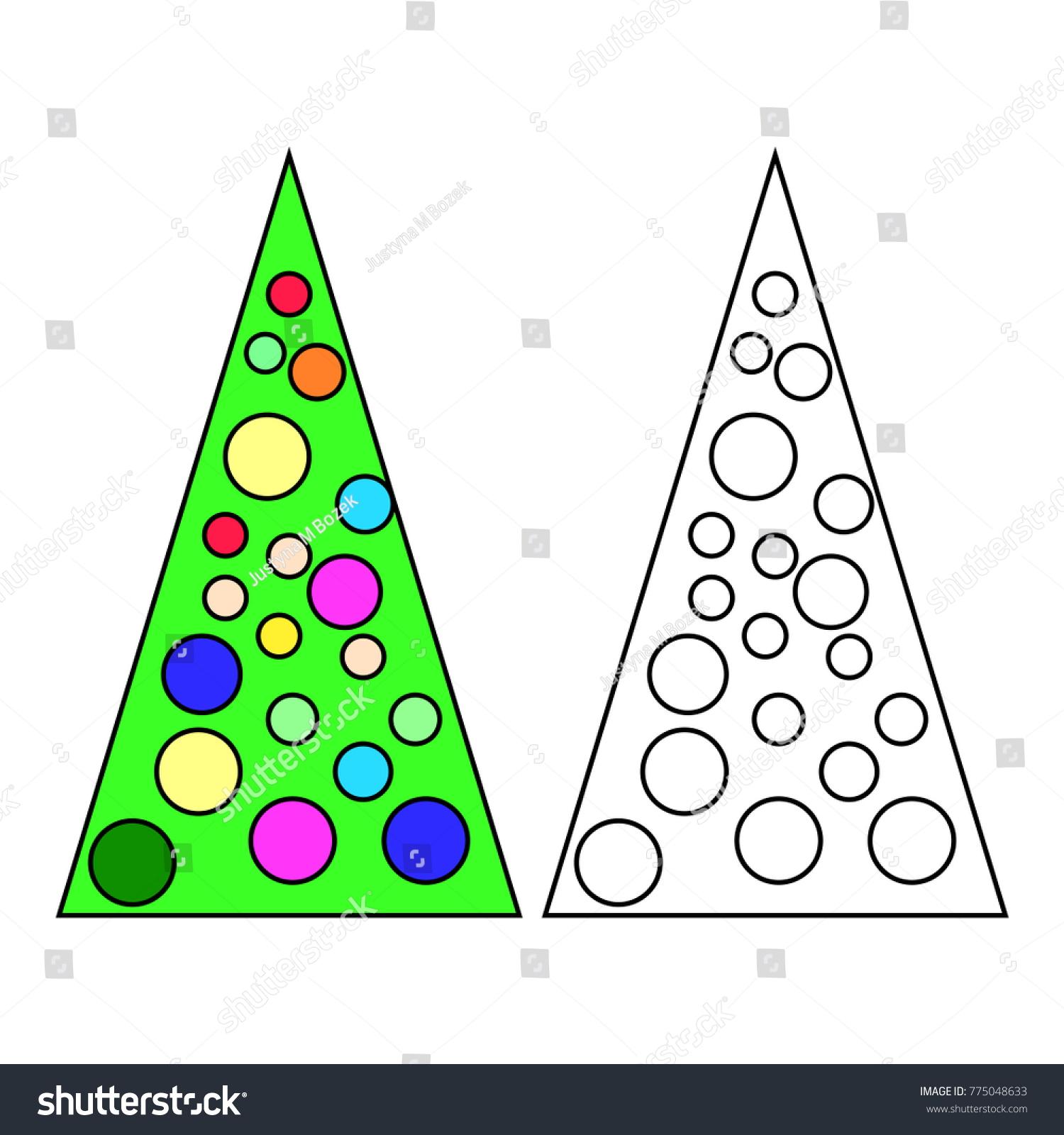 Simple Christmas Tree Children Coloring Book Stock Vector 775048633 ...