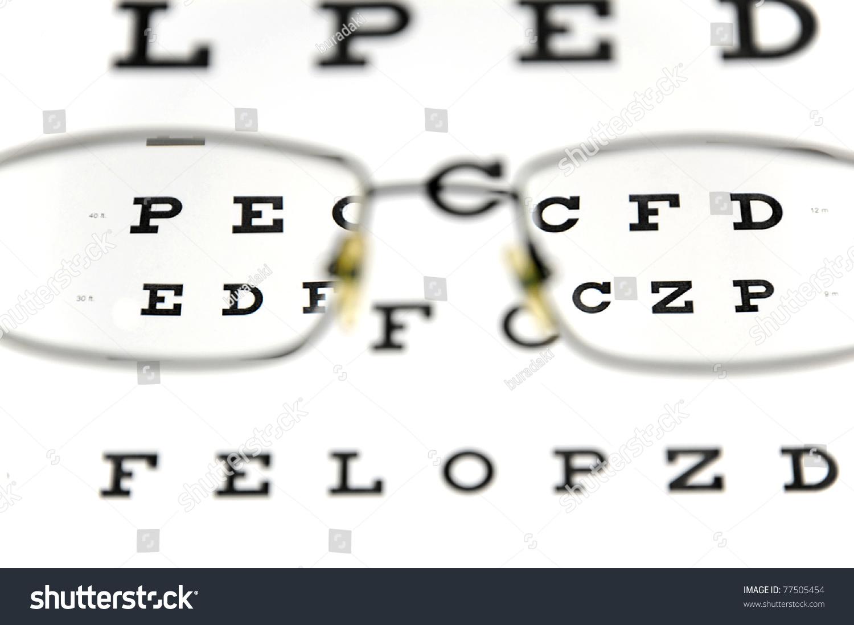 Eyeglasses snellen eye chart eye test stock photo 77505454 eyeglasses and snellen eye chart the eye test chart is shown blurred in the background nvjuhfo Gallery