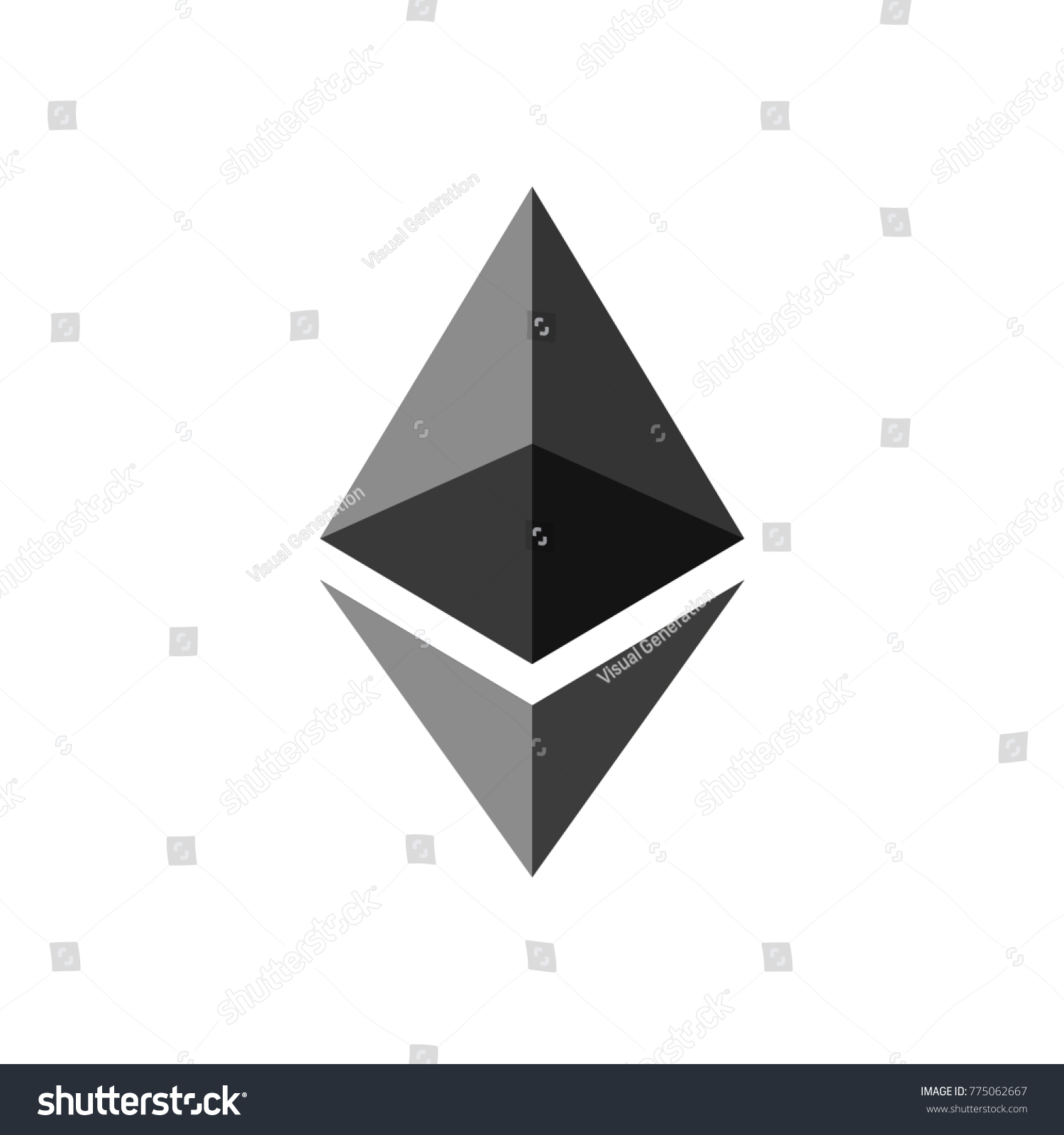 Ethereum Coin Symbol Logo Crypto Currency Stock Vector 775062667