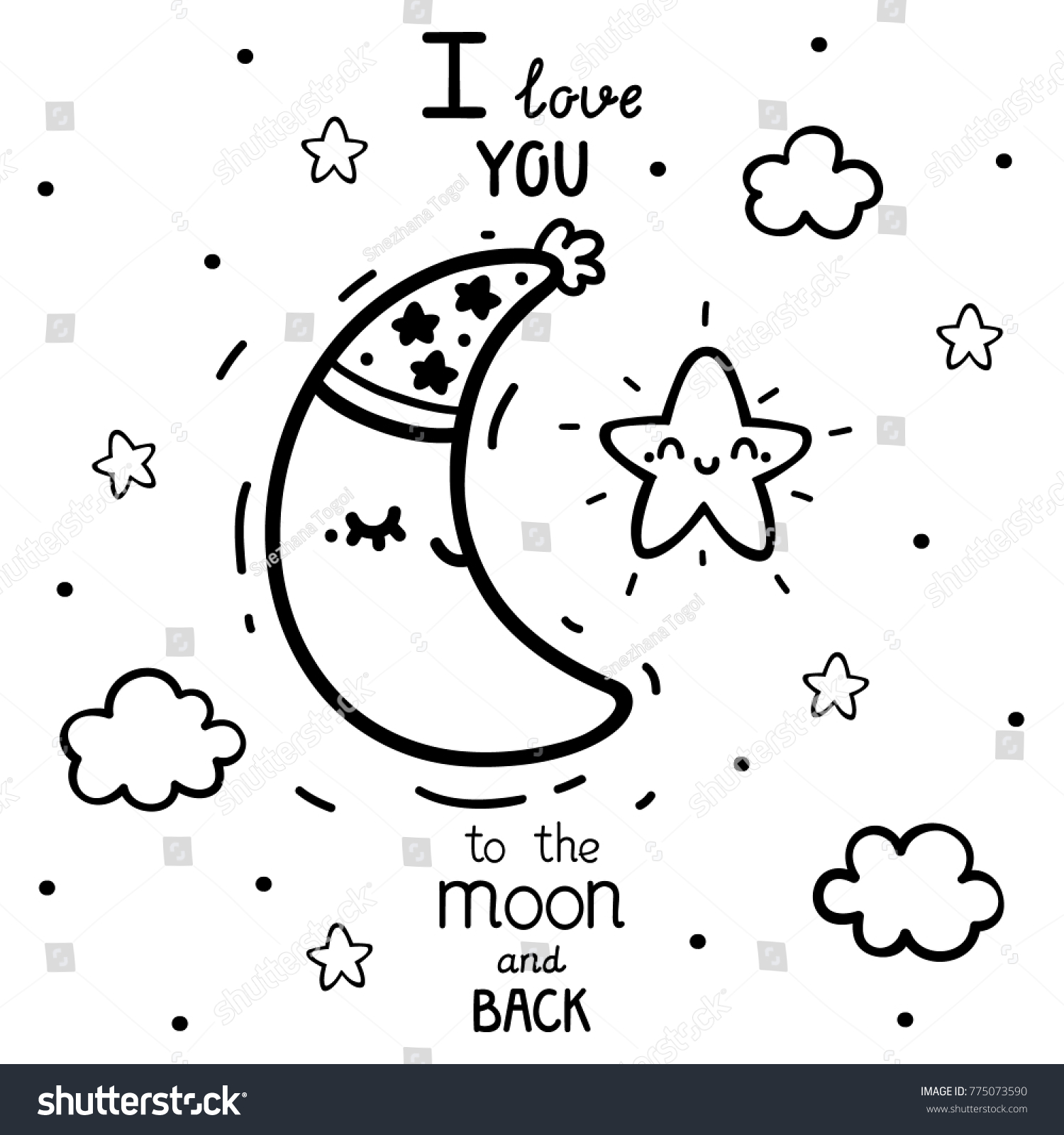 Coloring cute star waning crescent moon stock vector 775073590 coloring with cute star and waning crescent moon plus text i love to the moon biocorpaavc Gallery