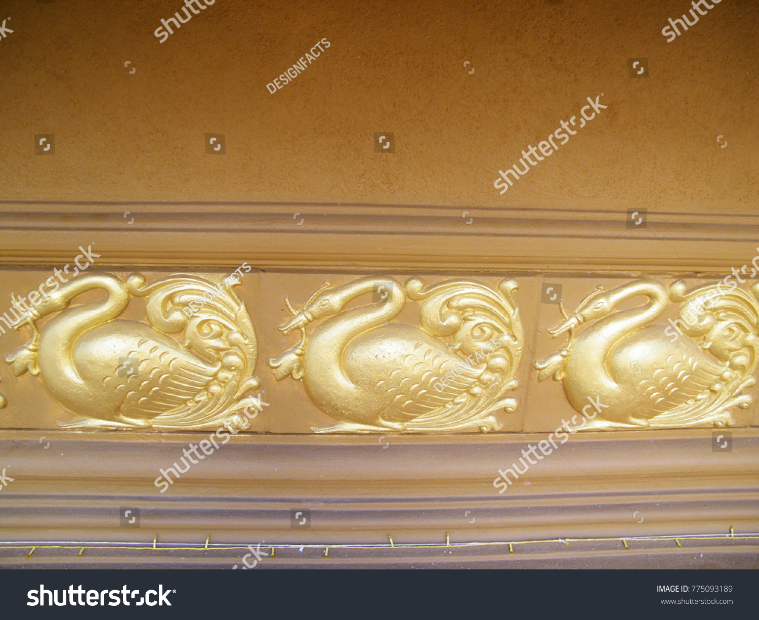 Antique Hand Painted Wall Decoration Thai Stock Photo (Royalty Free ...