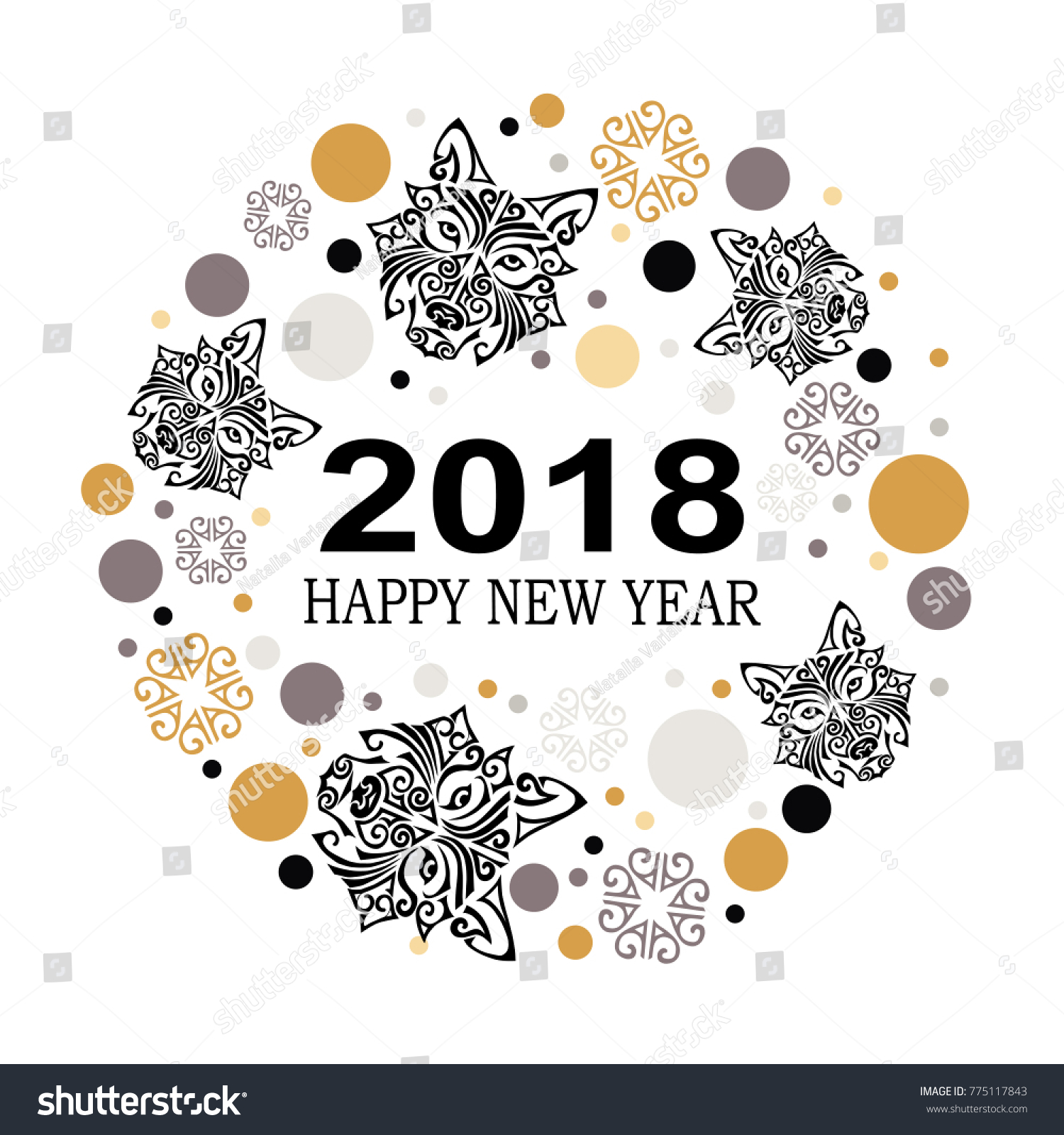 2018 New Year Card Husky Dogs Stock Vector (2018) 775117843 ...