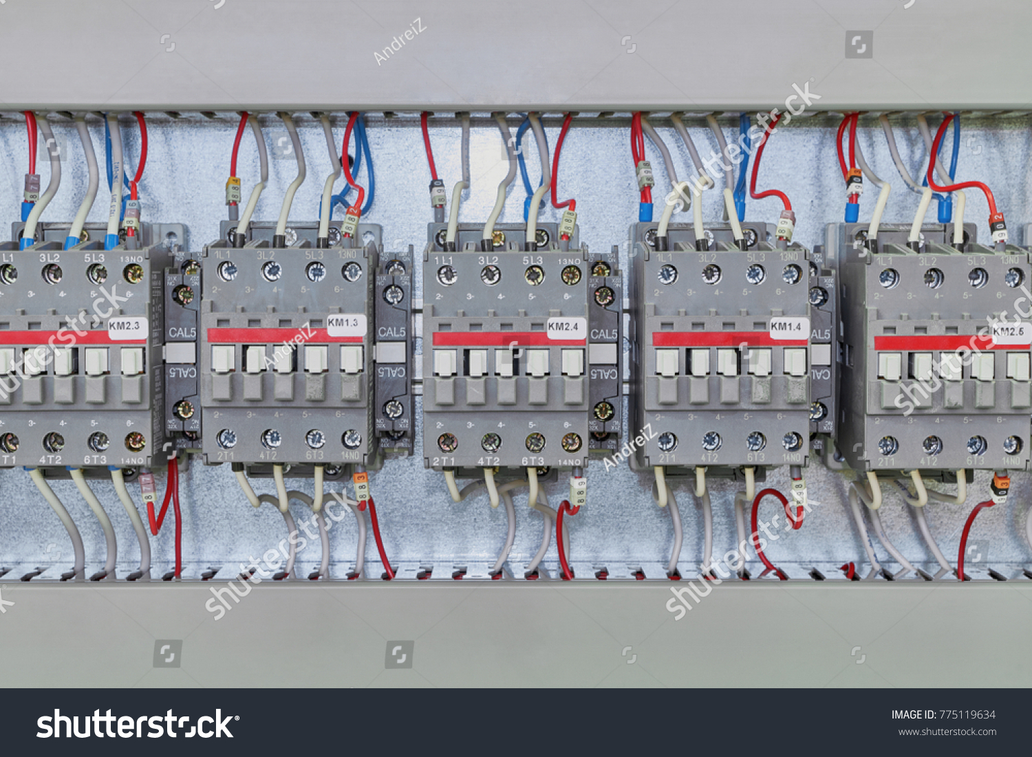Several Electrical Contactor On Mounting Panel Stock Photo ... on side electrical panel, power electrical panel, brick electrical panel,