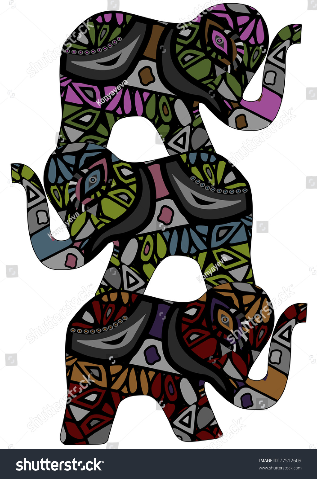 Elephants Symbol Good Luck The Elephants Stock Illustration 77512609