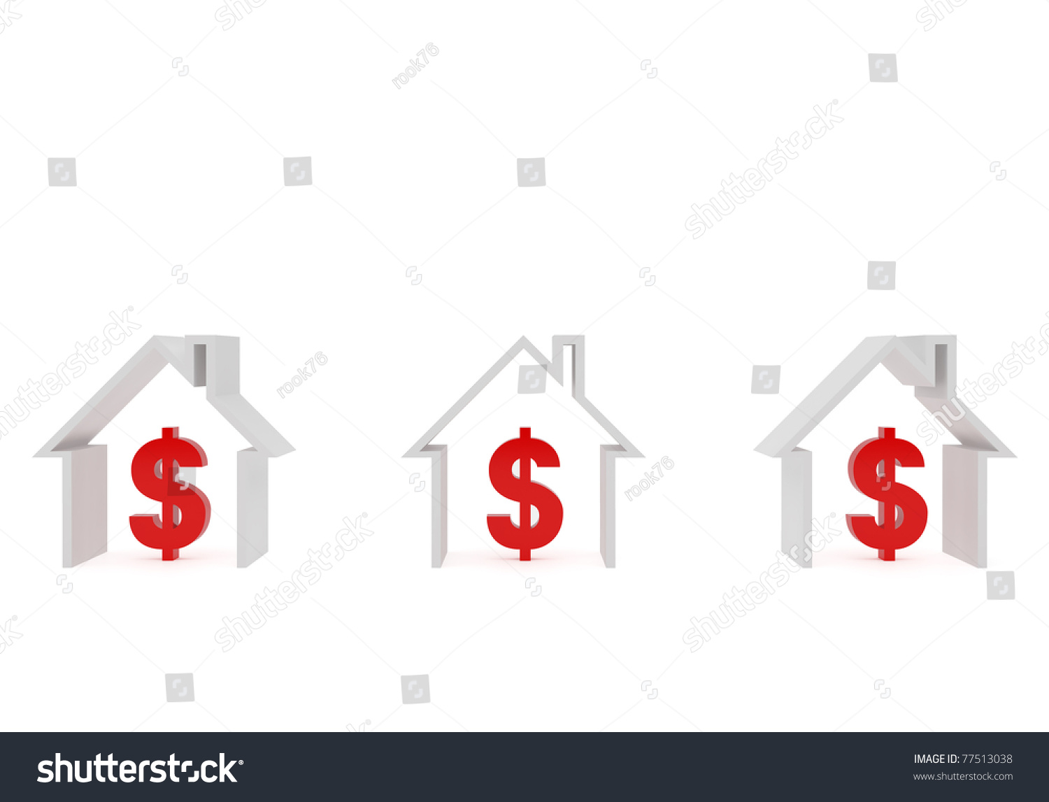 High Resolution Image 3d Rendered Illustration Three Houses And