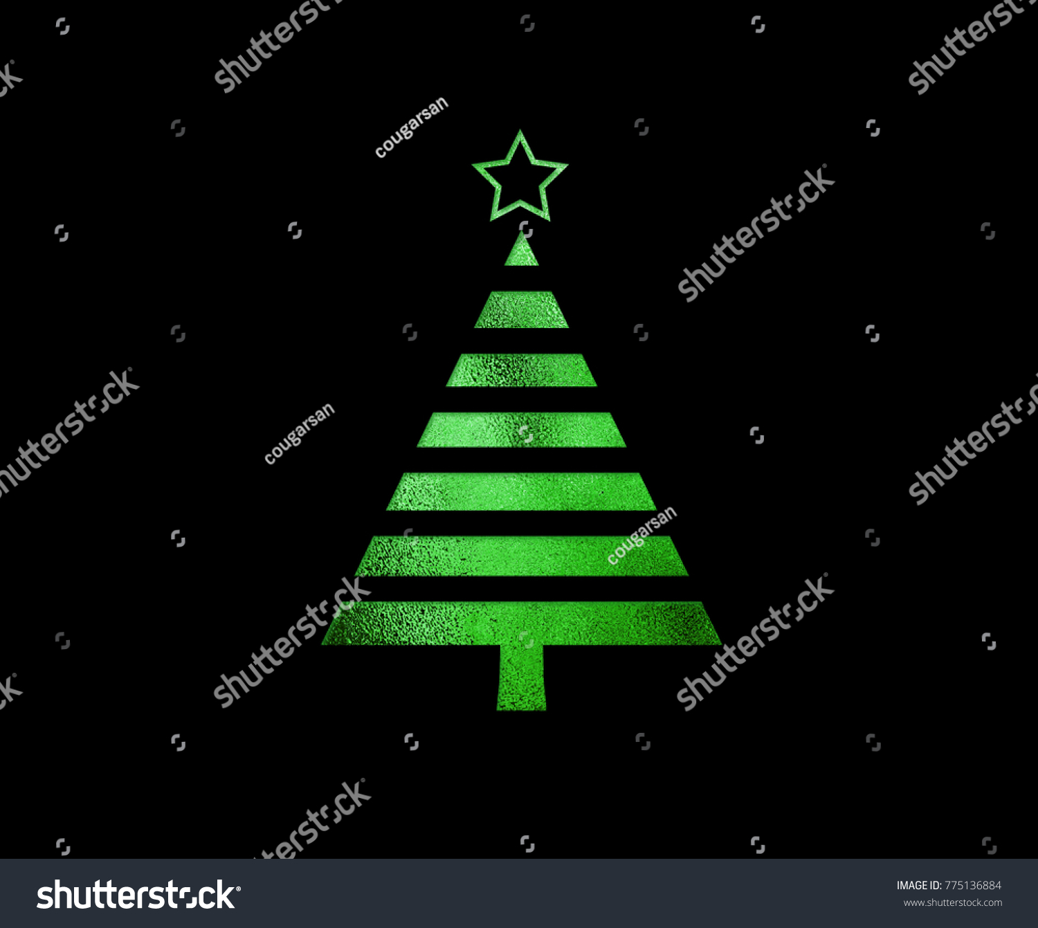The isolated green glitter Christmas tree flat icon on black background #775136884