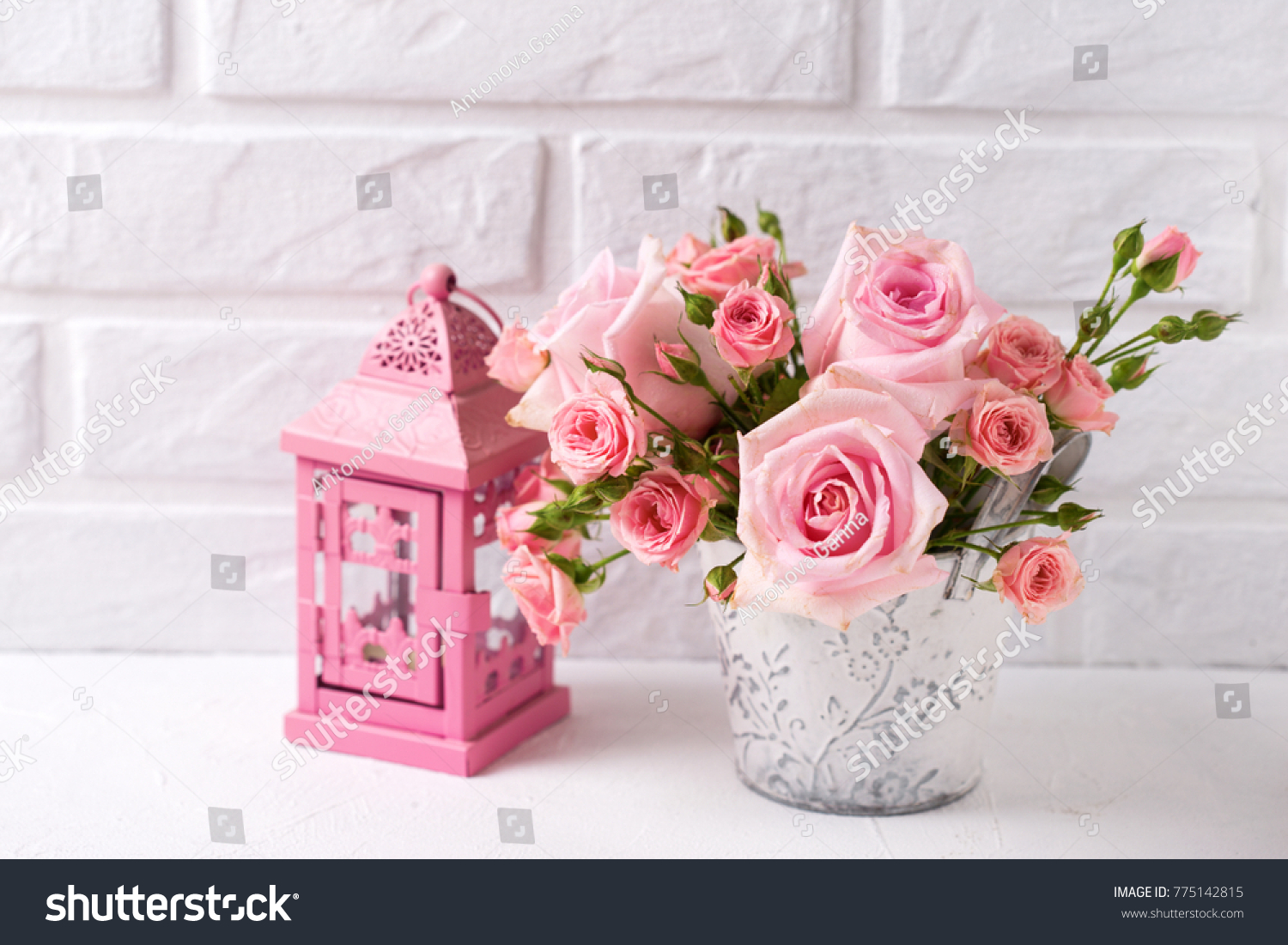Bunch Tender Pink Roses Flowers Decorative Stock Photo Edit Now