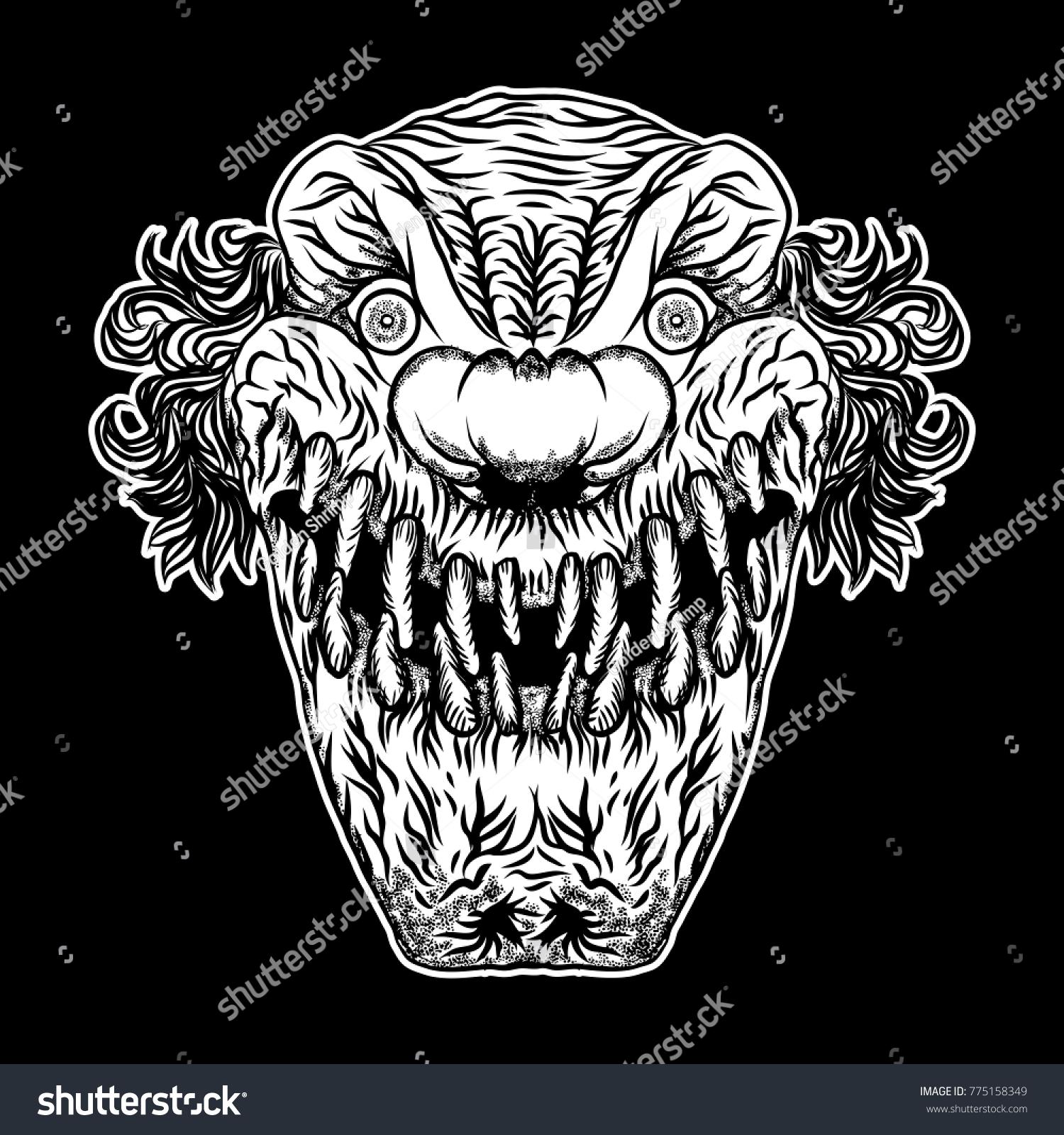 Scary Clown Head Concept Circus Horror Stock Vektorgrafik
