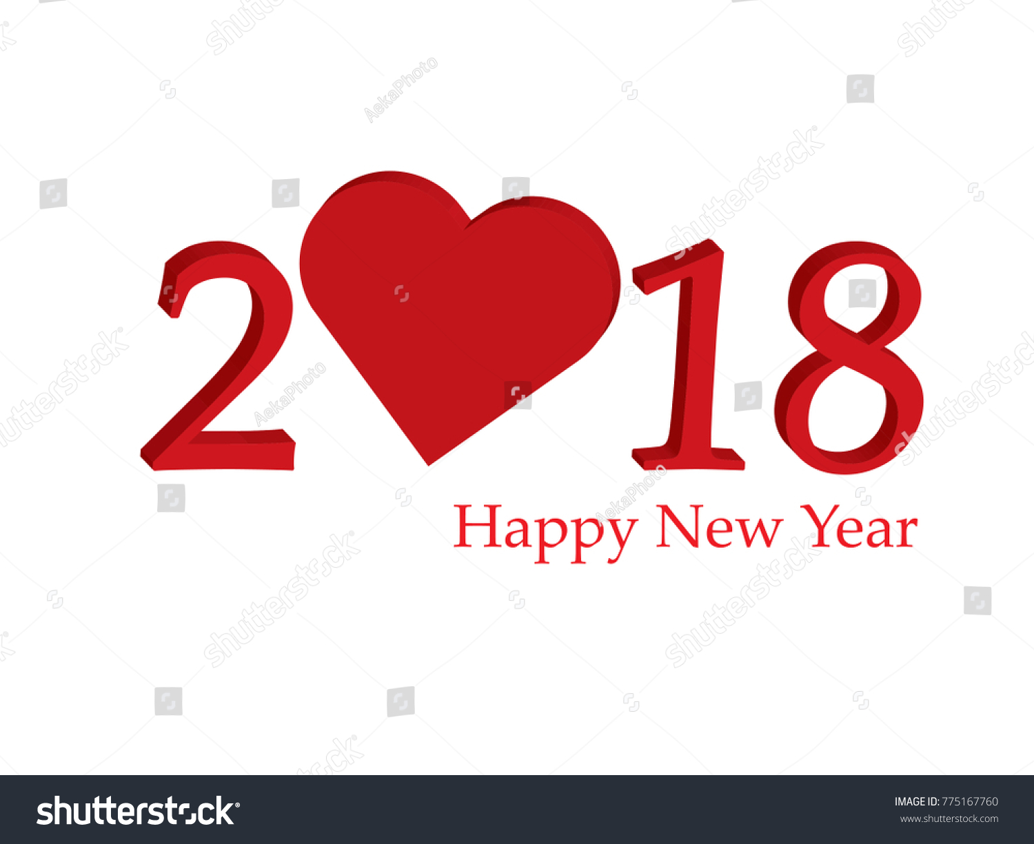 happy new year 2018 with creative love by heart concept isolate on white background for copy