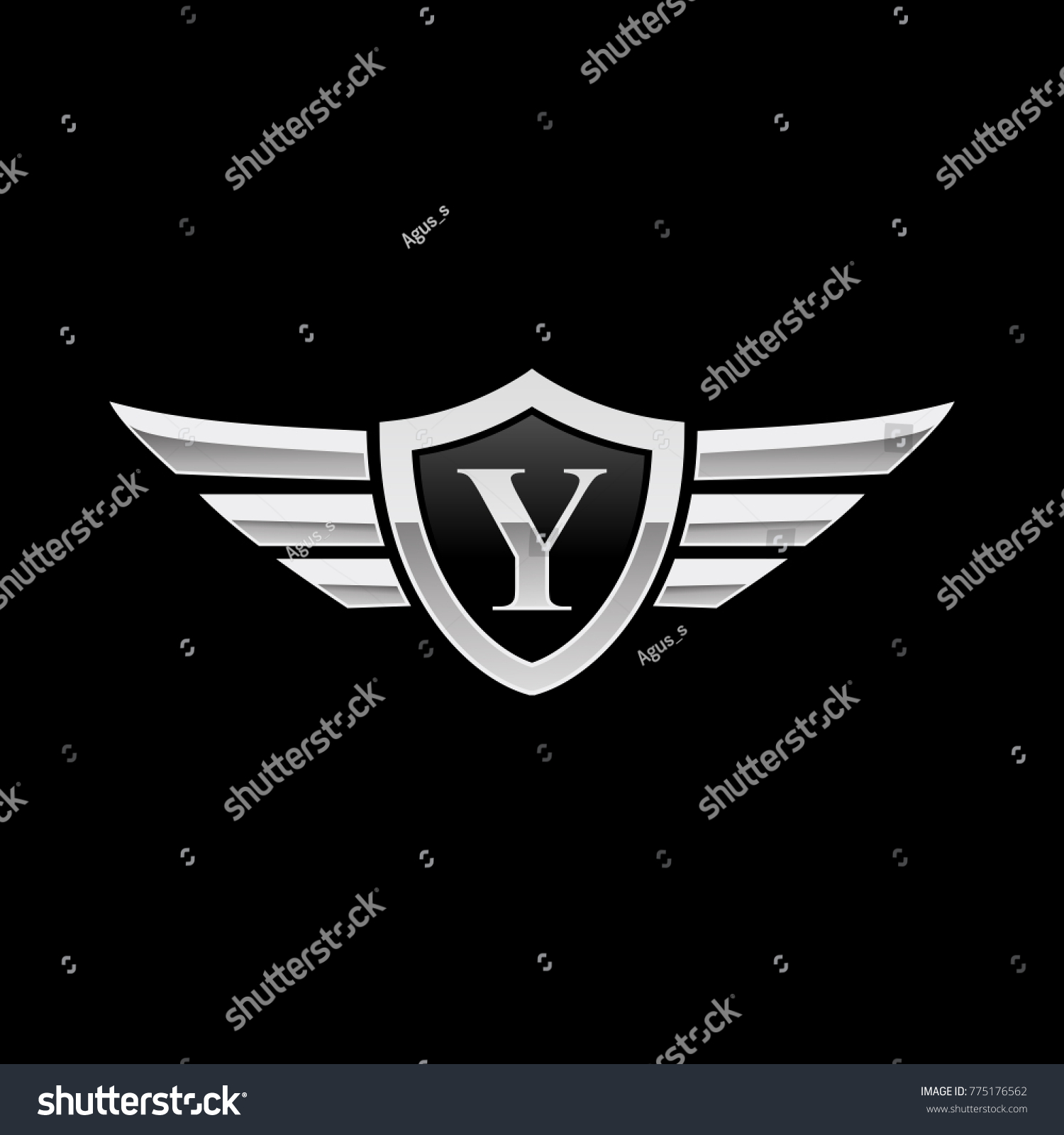 Wing Initial Logo Letter F Shield Icon Ez Canvas