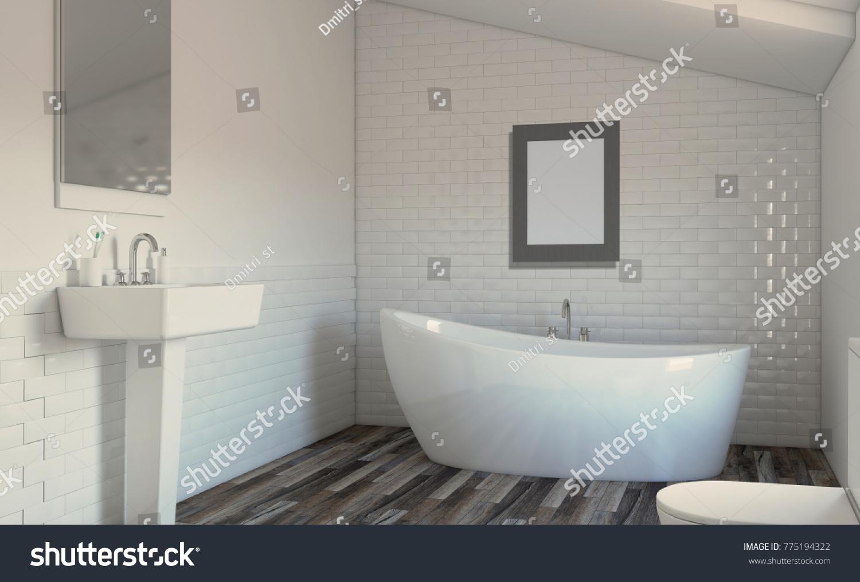 Modern Bathroom Including Bath Sink 3d Stock Illustration 775194322 ...