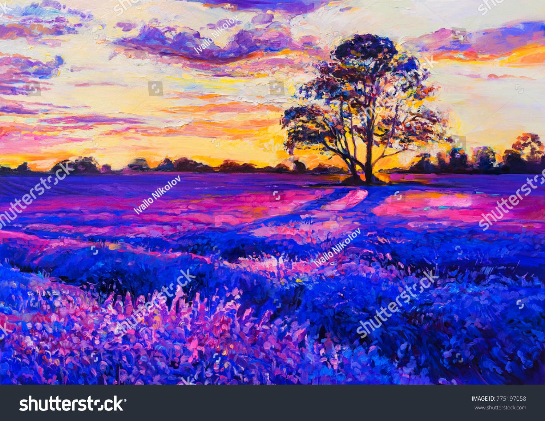 Original Oil Painting On Canvas Lavender Ilustración de ...