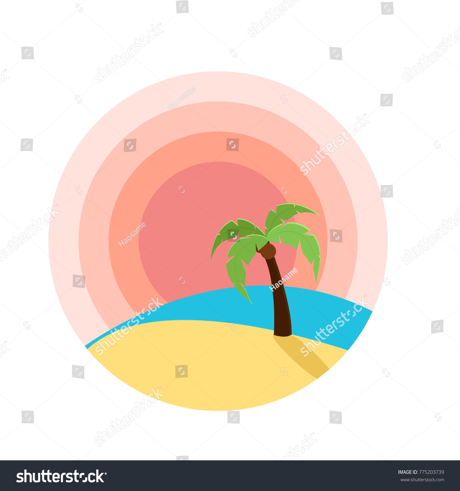Vector Illustration Of Sunset On Beach With Palm Tree Flat Design For Logo Sites