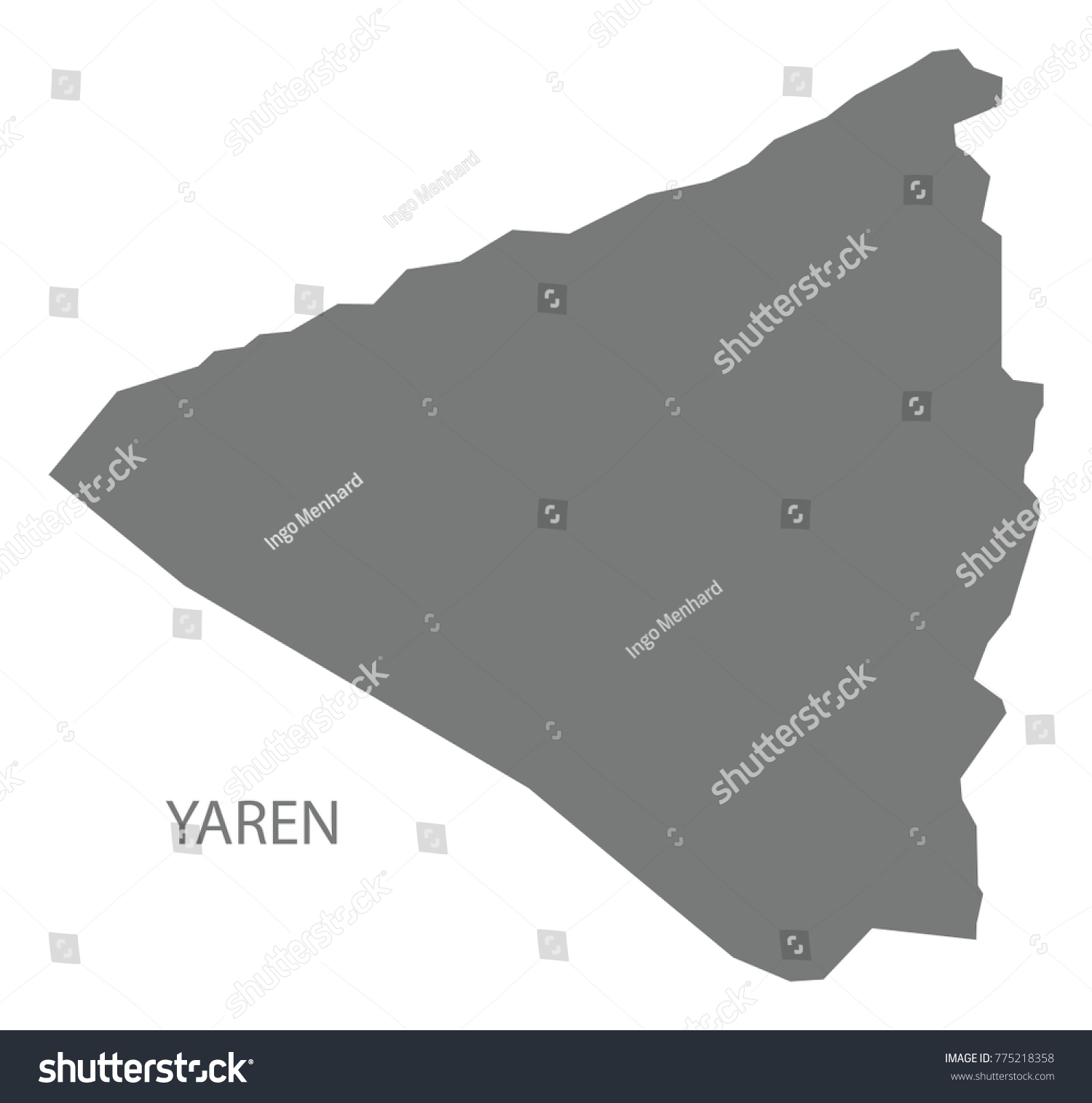 Yaren Map Nauru Grey Illustration Silhouette Stock Vector 775218358