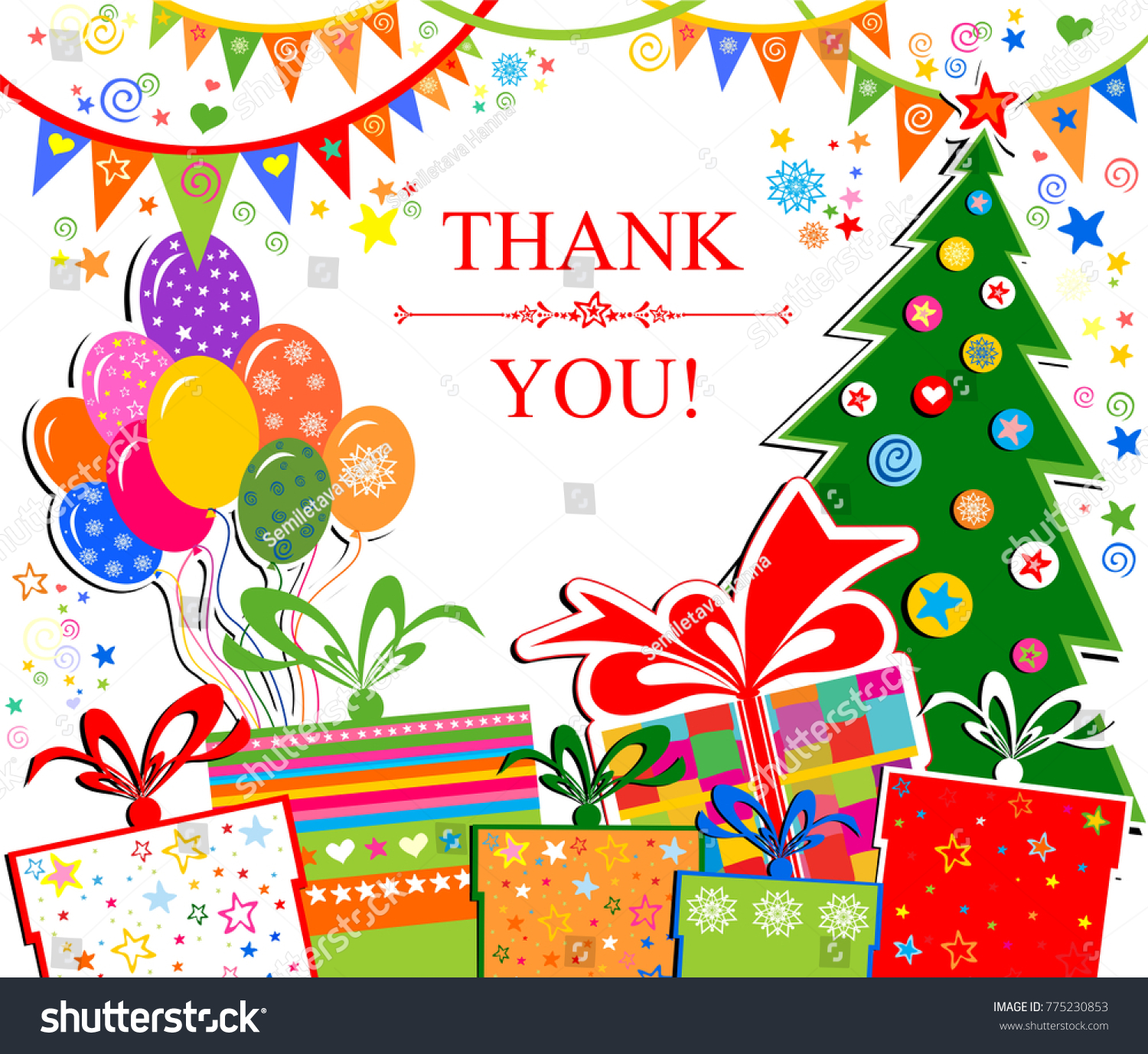 Thank You Card Celebration Background Christmas Stock Vector ...