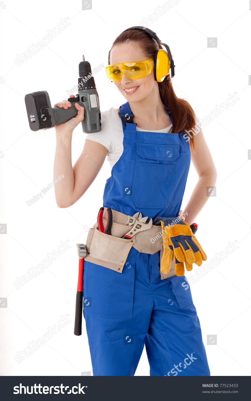 Девушки в строительных комбинезонах фото