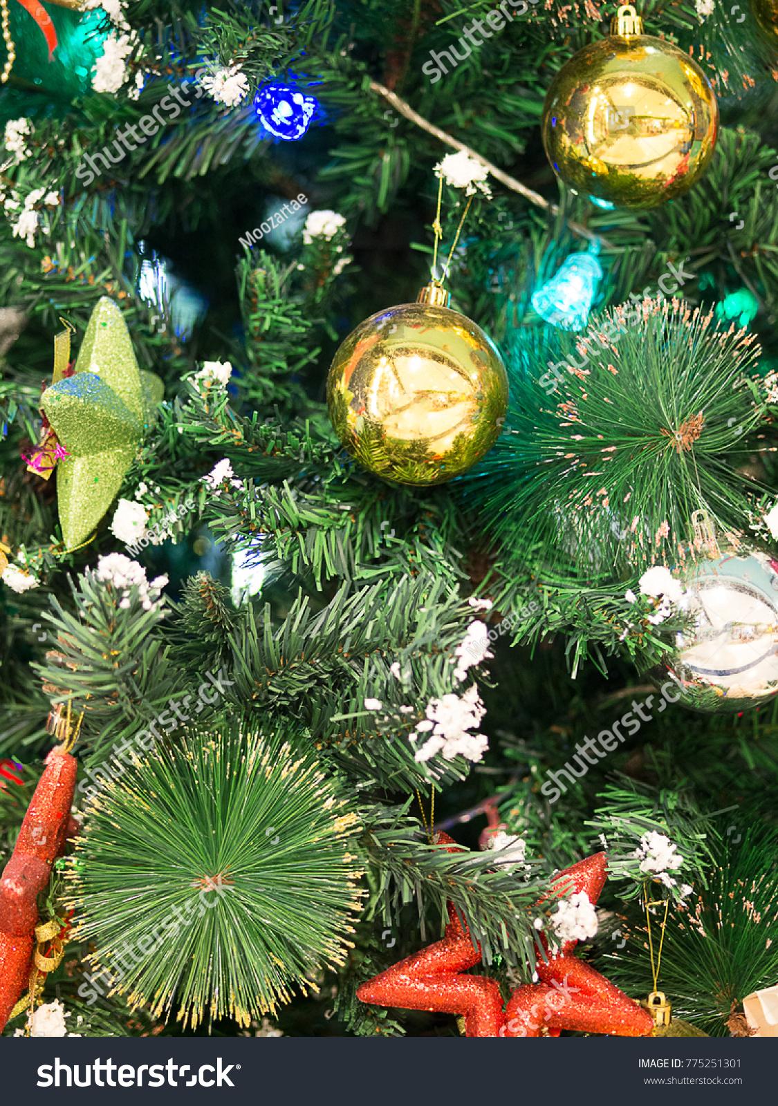 Green Christmas Tree Background Wallpaper Golden Stock Photo Edit Now 775251301
