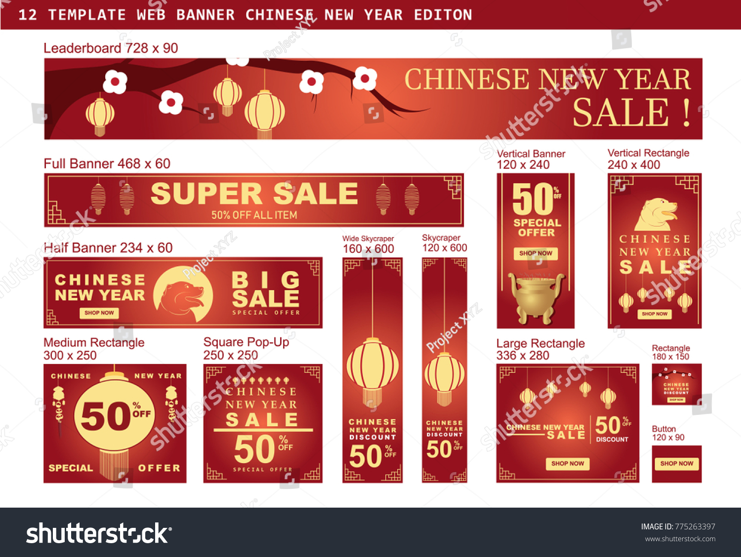 banner set for chinese new year sale with hanging lanterns on the branch vector design