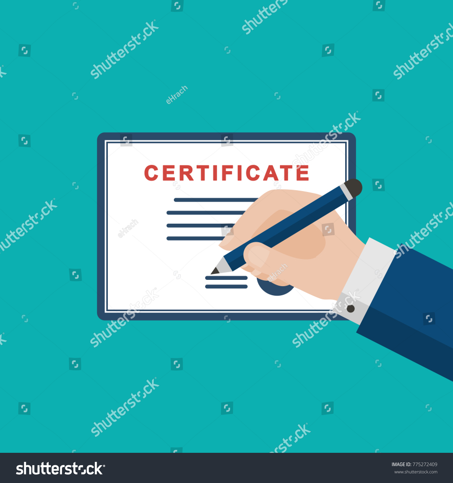 Businessman hand signing certificate diploma flat stock vector businessman hand signing certificate or diploma flat style vector illustration isolated on blue background xflitez Choice Image