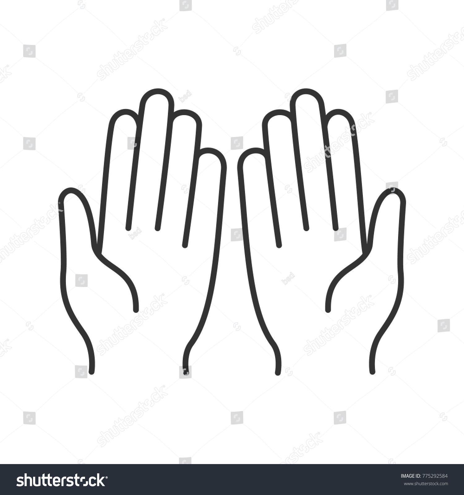 Muslim Praying Hands Linear Icon Thin Stock Illustration 775292584