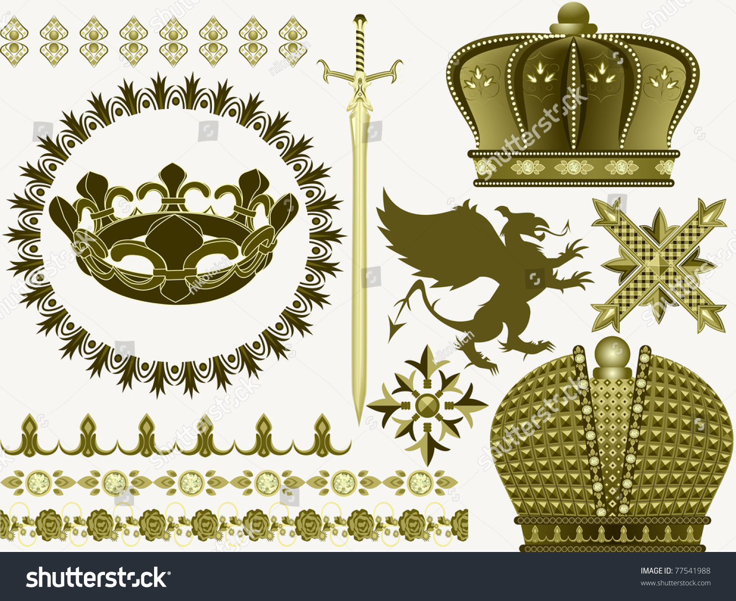 Things Symbols Middle Ages Sword Crown Stock Vector Royalty Free