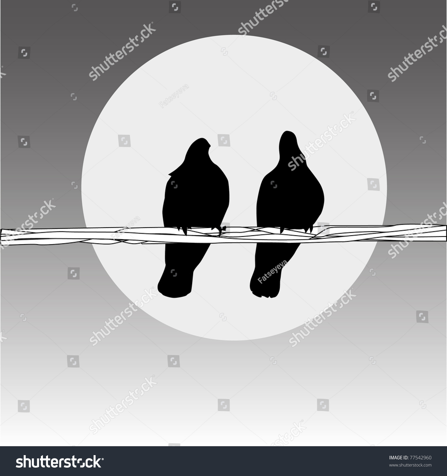 Birds On Wire Couple On Grey Stock Vector 77542960 - Shutterstock