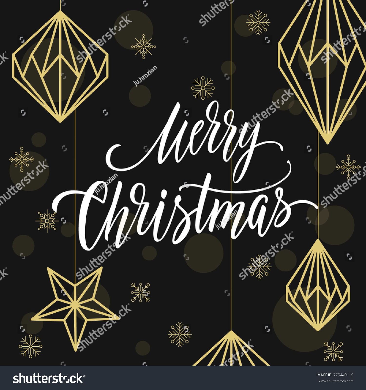 Modern Calligraphy And Geometric Christmas Decorations Merry