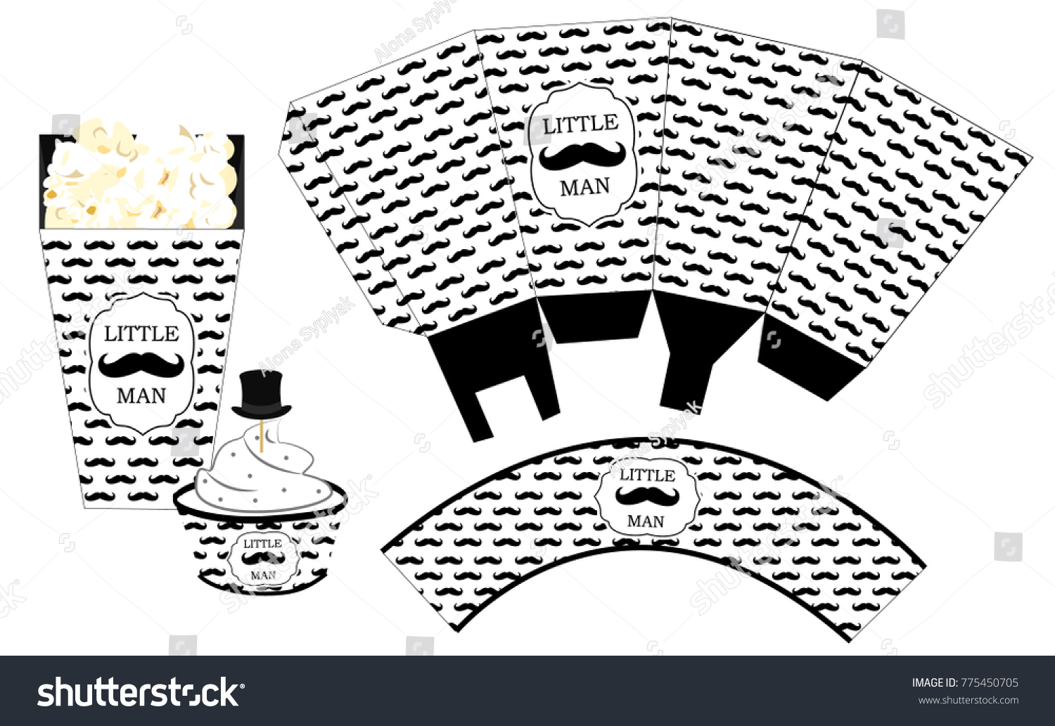 Popcorn Paper Box Cupcake Wrapper Printable Stock Vector (Royalty ...