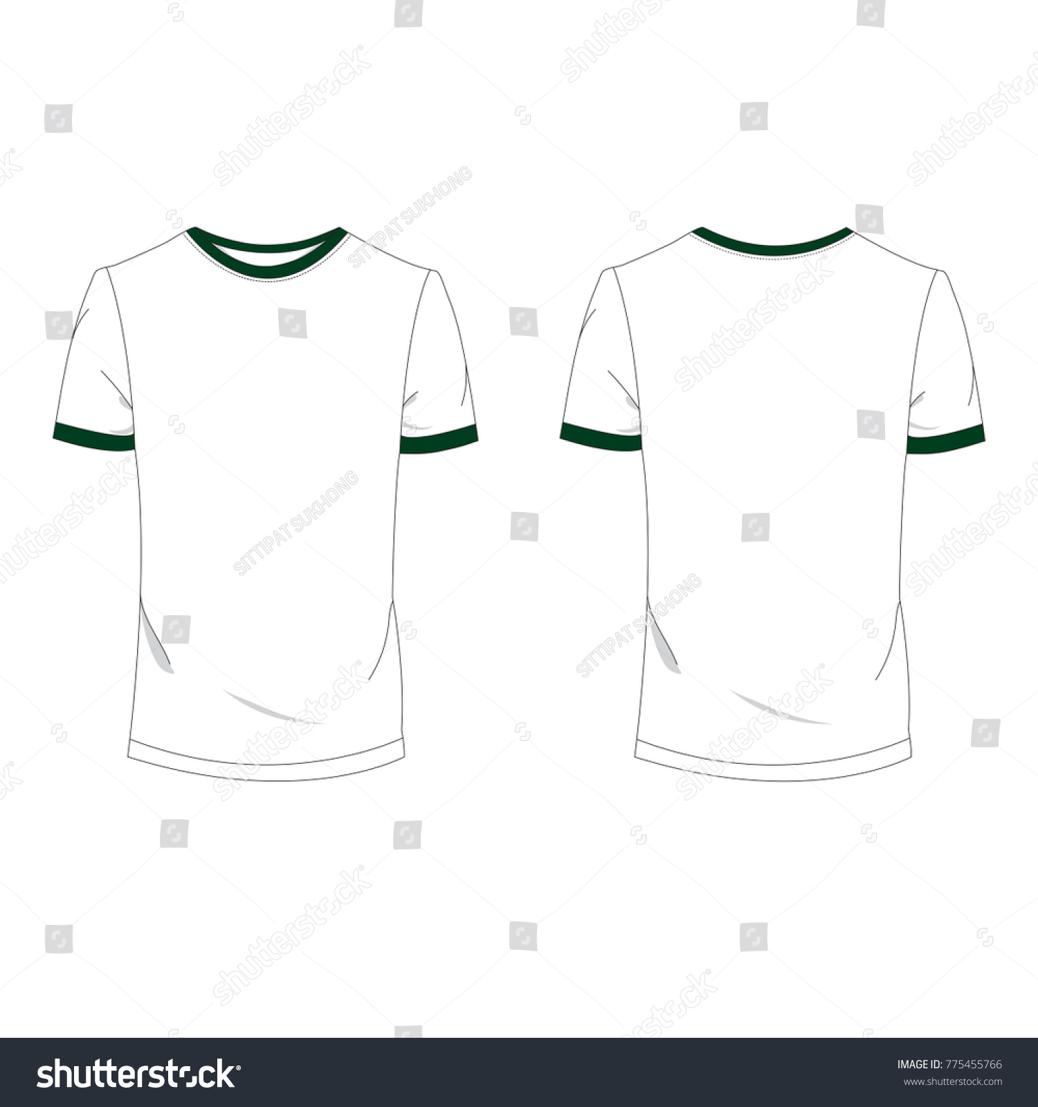 two tone green white tshirt template stock vector royalty free