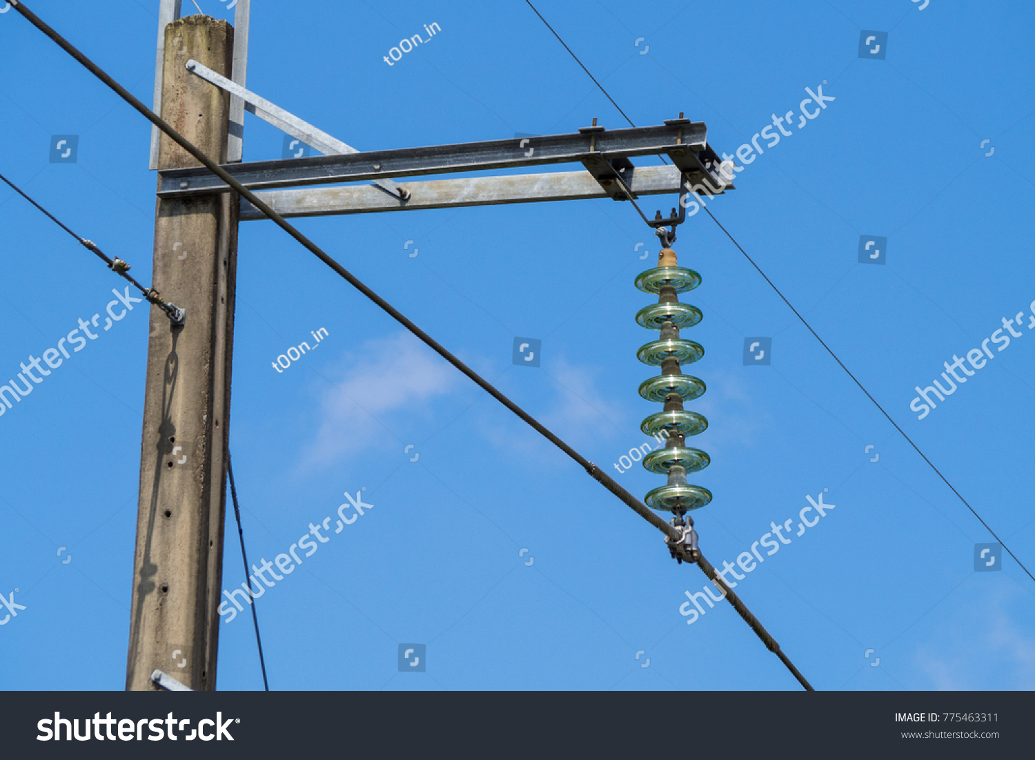 High Voltage Insulator Electric Wire Top Stock Photo (Edit Now ...