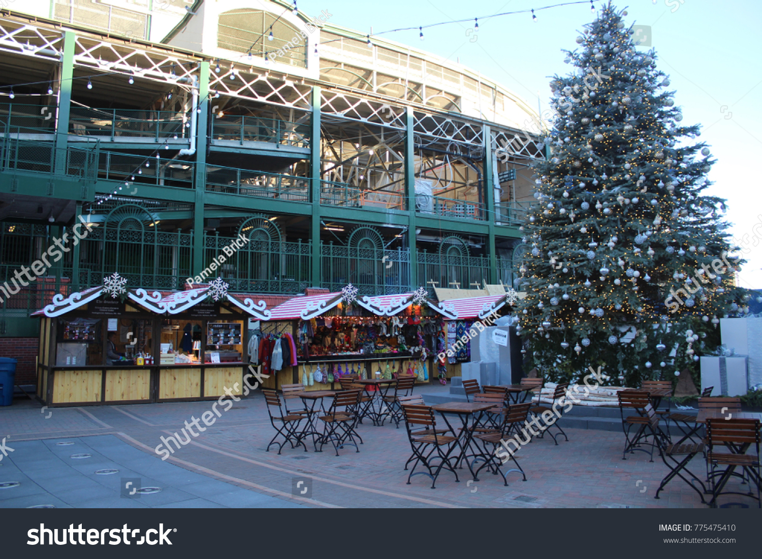 chicago december 2017 holiday decorations christmas market at wrigley field chicago cubs park - Chicago Christmas Decorations