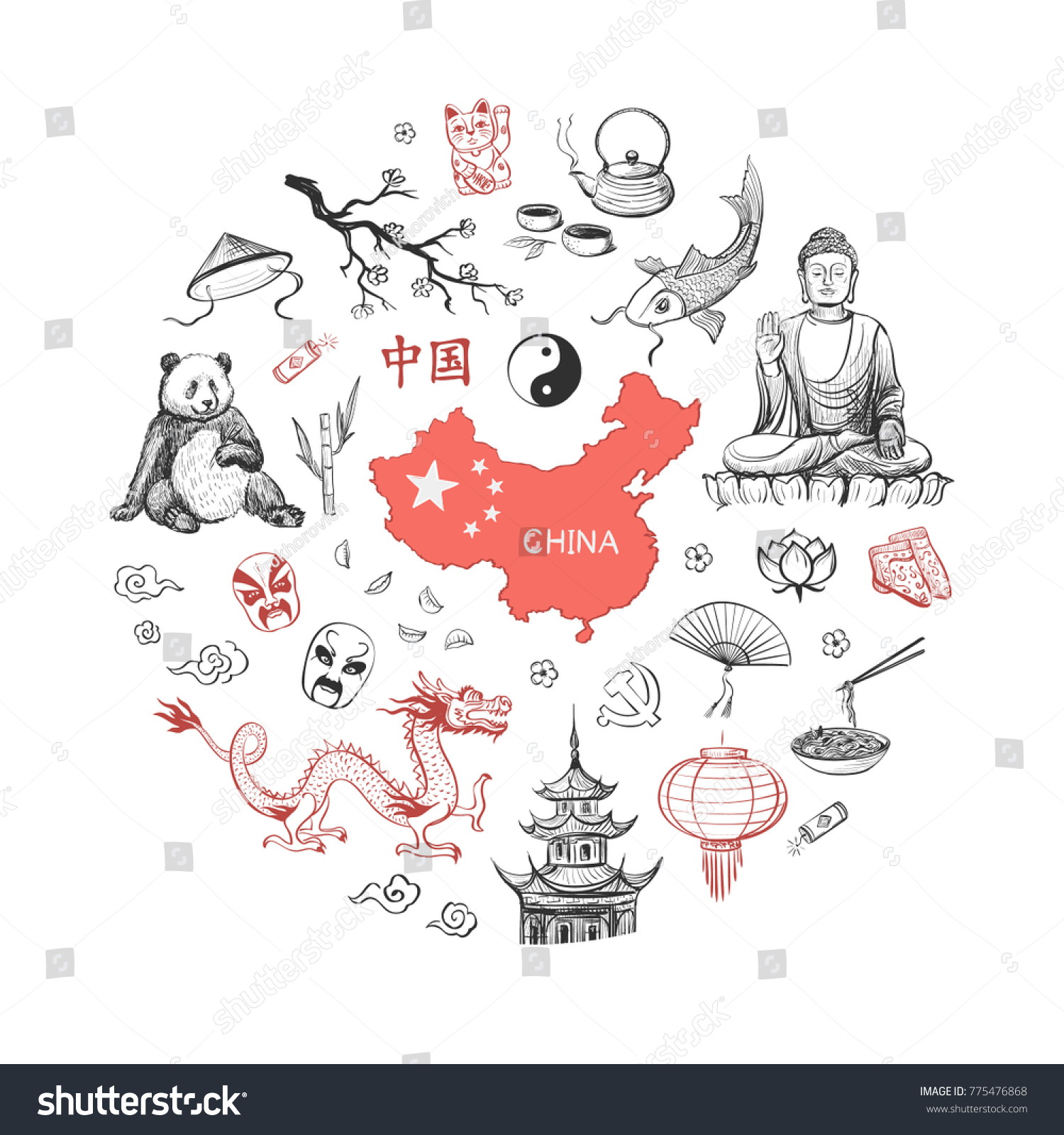 Vector Sketches On China Composition Attributes Stock Vector