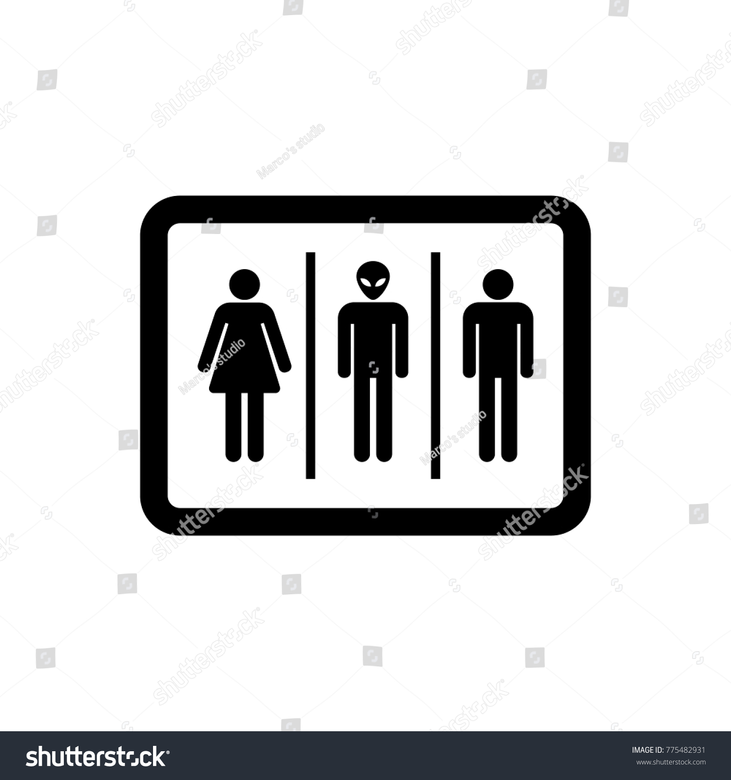 Bathroom Sign Woman Man Alien Vector Stock Vector Royalty Free