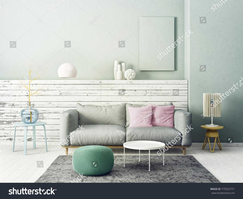 Modern Living Room Grey Sofa Lamp Stock Illustration 775552771 ...