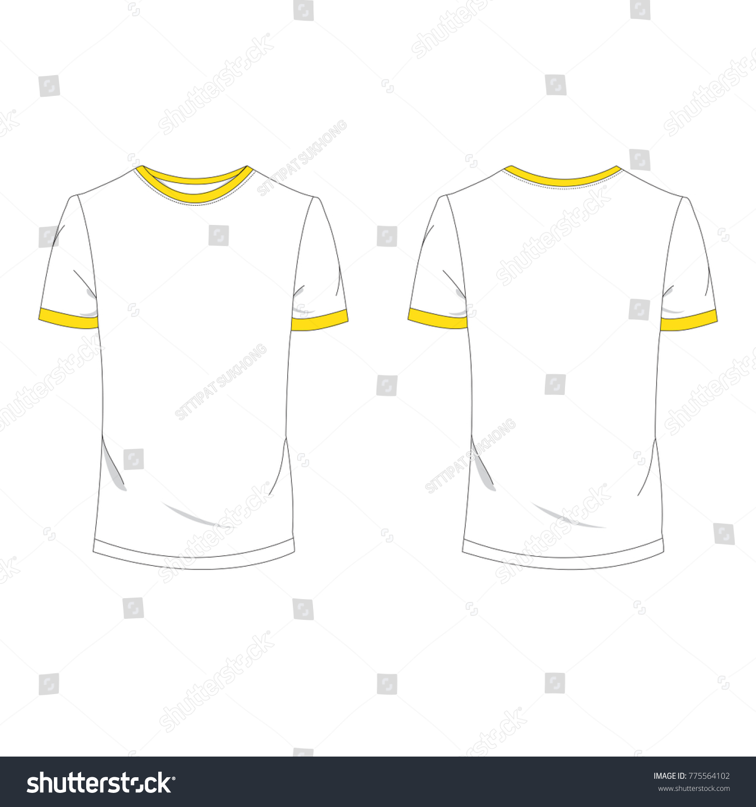 Twotone Yellow White Tshirt Template Using Stock Vector 775564102