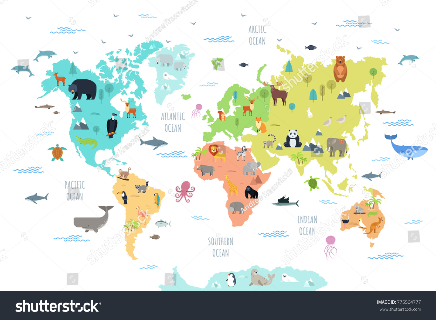 World map wild animals living on stock vector hd royalty free world map with wild animals living on various continents and in oceans cute cartoon mammals gumiabroncs Image collections